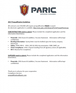 Prequalification Form for PARIC Construction