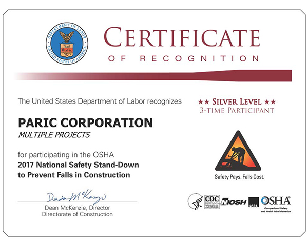 PARIC Corp. located in St. Louis is proud to have received the Certificate for National Safety.